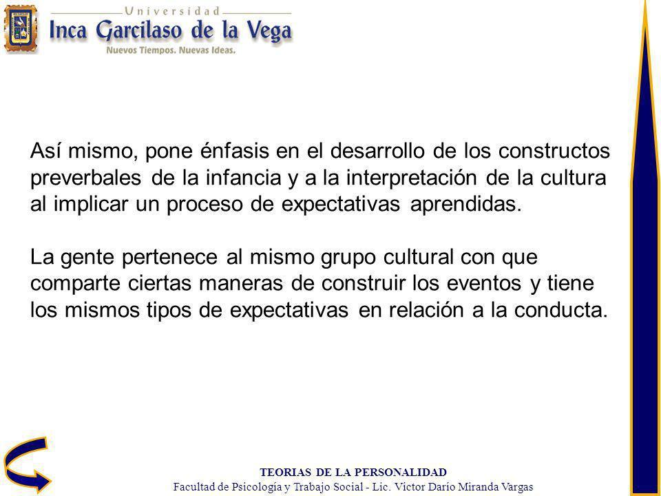 TEORIAS DE LA PERSONALIDAD Facultad de Psicología y Trabajo Social - Lic. Víctor Darío Miranda Vargas Así mismo, pone énfasis en el desarrollo de los