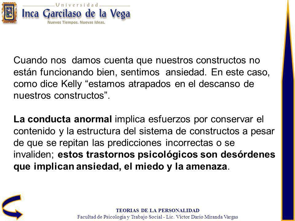 TEORIAS DE LA PERSONALIDAD Facultad de Psicología y Trabajo Social - Lic. Víctor Darío Miranda Vargas Cuando nos damos cuenta que nuestros constructos