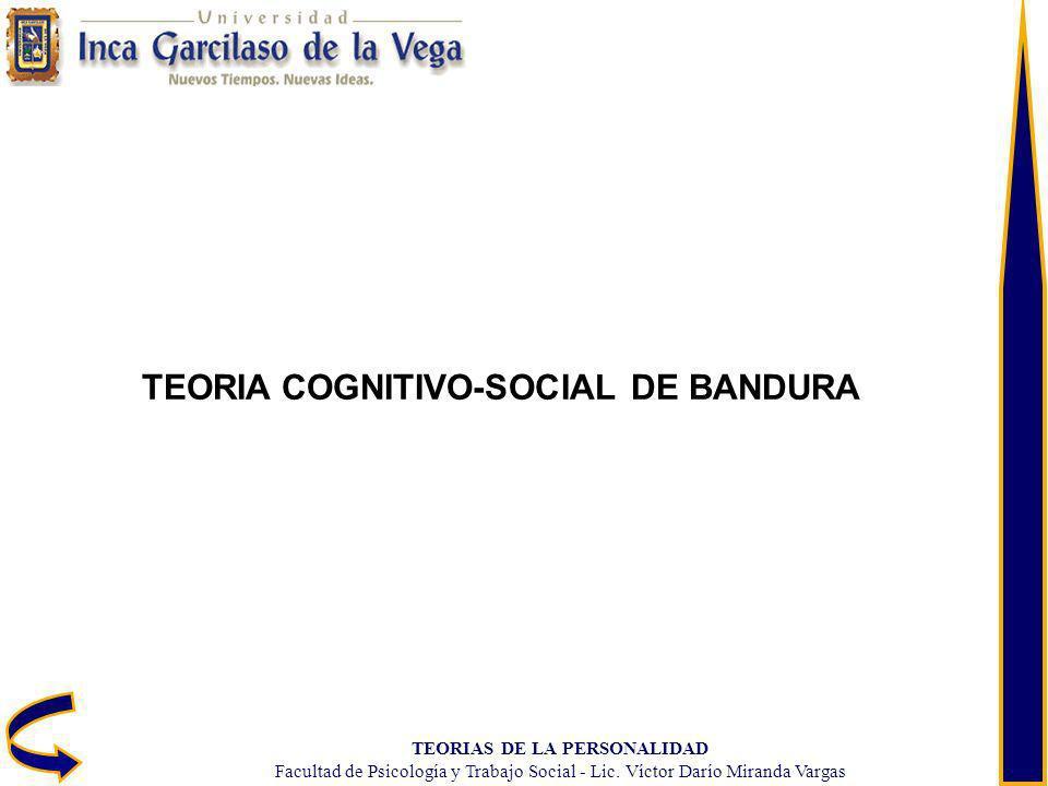 TEORIAS DE LA PERSONALIDAD Facultad de Psicología y Trabajo Social - Lic. Víctor Darío Miranda Vargas TEORIA COGNITIVO-SOCIAL DE BANDURA