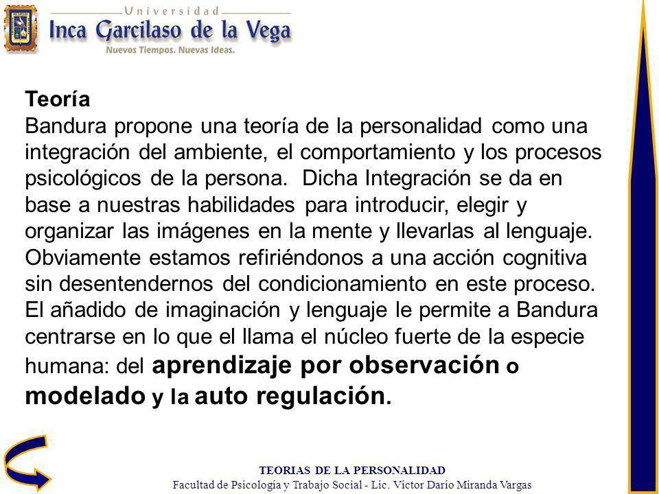 TEORIAS DE LA PERSONALIDAD Facultad de Psicología y Trabajo Social - Lic. Víctor Darío Miranda Vargas Teoría Bandura propone una teoría de la personal