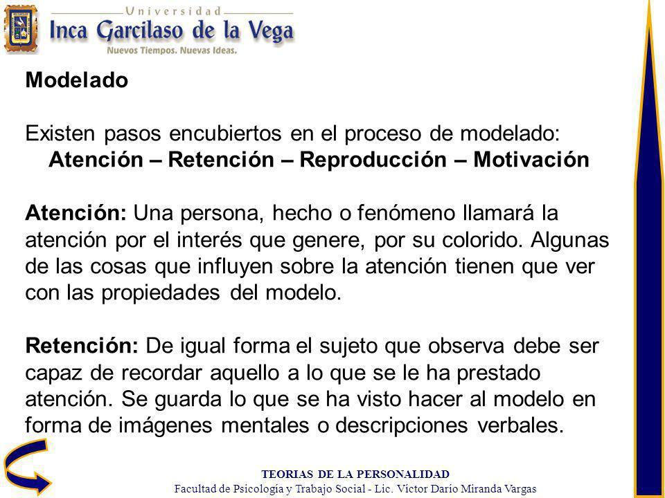 TEORIAS DE LA PERSONALIDAD Facultad de Psicología y Trabajo Social - Lic. Víctor Darío Miranda Vargas Modelado Existen pasos encubiertos en el proceso