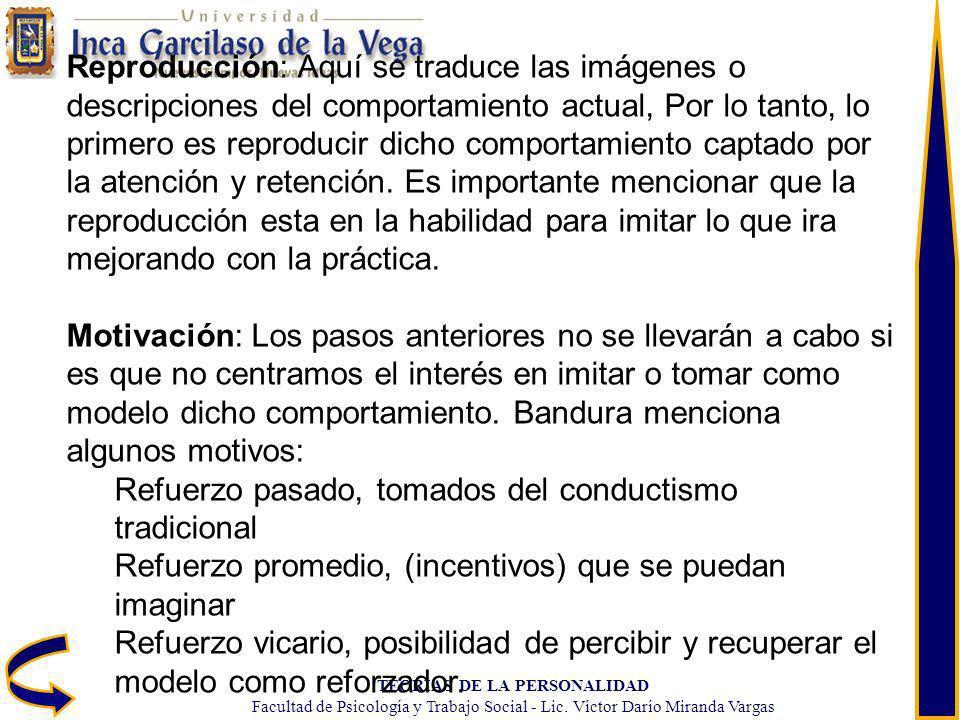 TEORIAS DE LA PERSONALIDAD Facultad de Psicología y Trabajo Social - Lic. Víctor Darío Miranda Vargas Reproducción: Aquí se traduce las imágenes o des