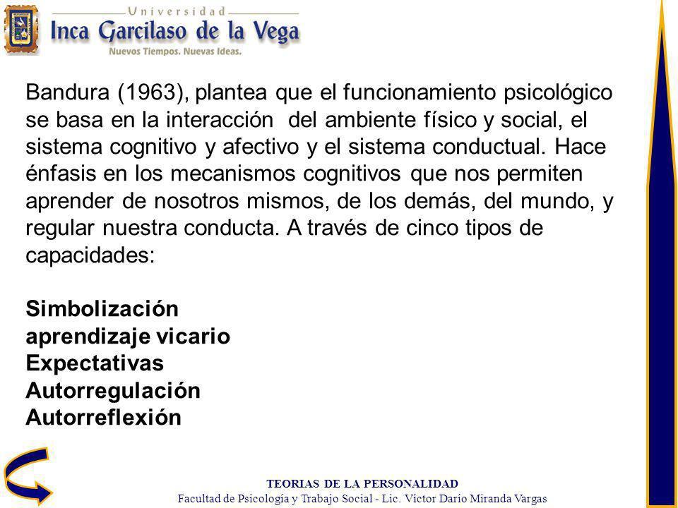 TEORIAS DE LA PERSONALIDAD Facultad de Psicología y Trabajo Social - Lic. Víctor Darío Miranda Vargas Bandura (1963), plantea que el funcionamiento ps