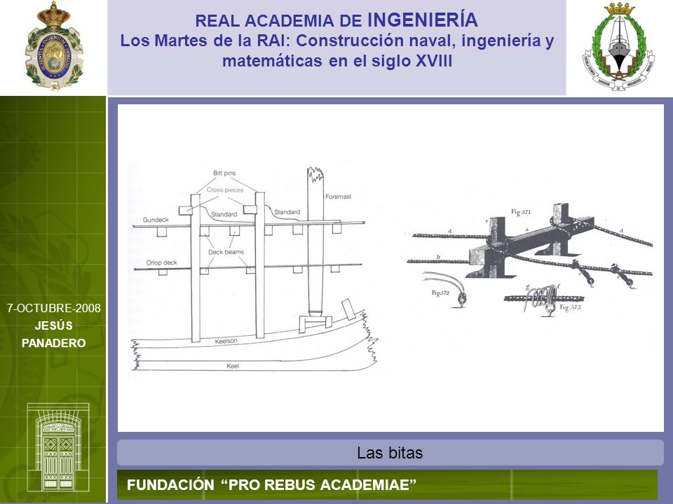Las bitas REAL ACADEMIA DE INGENIERÍA FUNDACIÓN PRO REBUS ACADEMIAE Los Martes de la RAI: Construcción naval, ingeniería y matemáticas en el siglo XVI