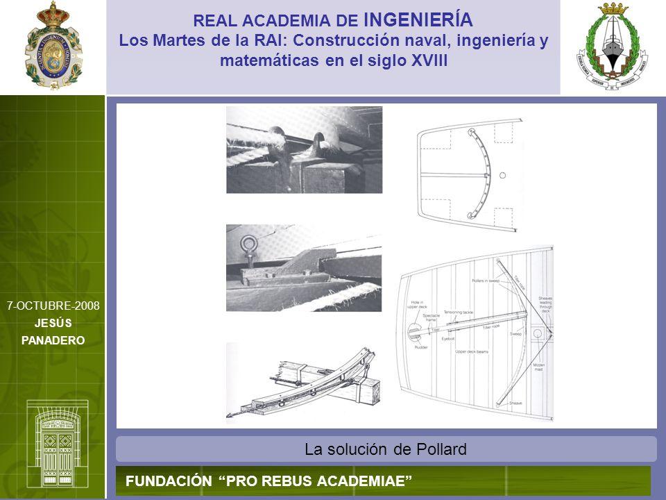 La solución de Pollard REAL ACADEMIA DE INGENIERÍA FUNDACIÓN PRO REBUS ACADEMIAE Los Martes de la RAI: Construcción naval, ingeniería y matemáticas en