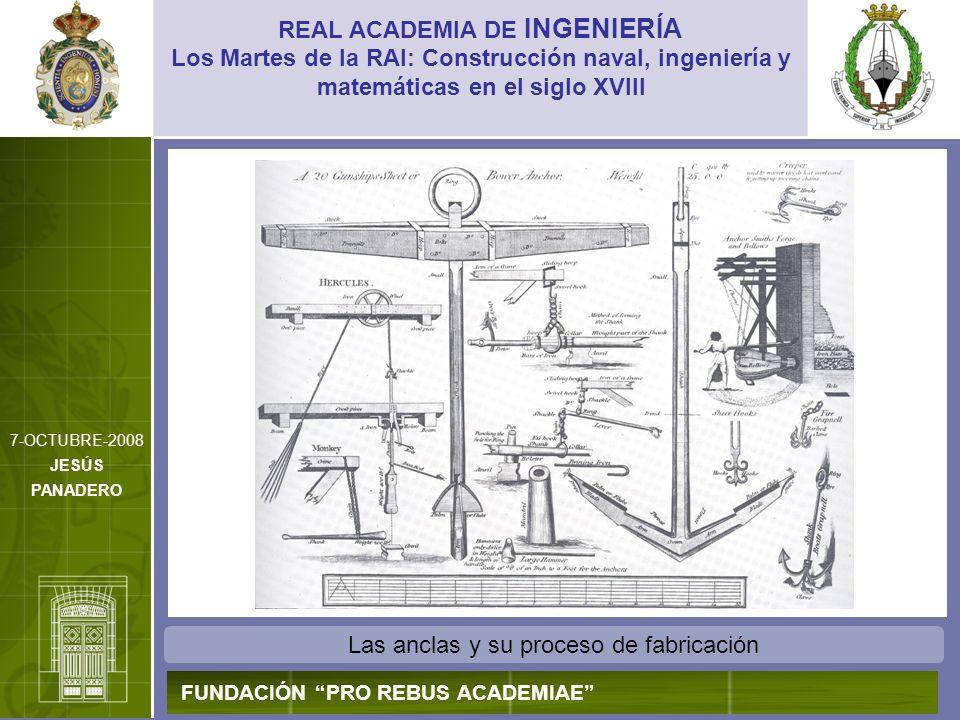Las anclas y su proceso de fabricación REAL ACADEMIA DE INGENIERÍA FUNDACIÓN PRO REBUS ACADEMIAE Los Martes de la RAI: Construcción naval, ingeniería