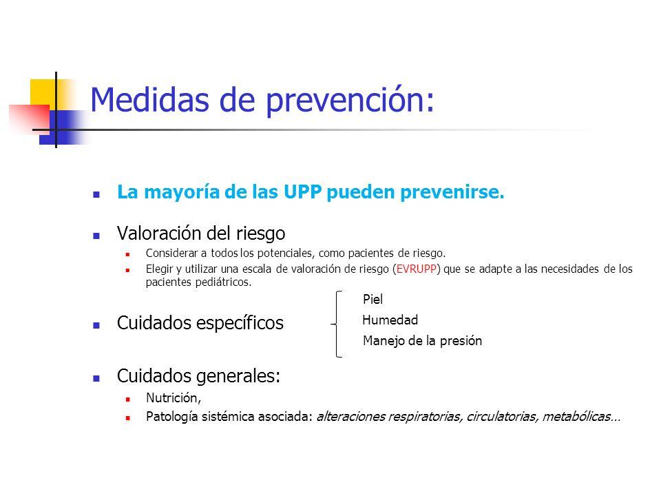 Medidas de prevención: La mayoría de las UPP pueden prevenirse. Valoración del riesgo Considerar a todos los potenciales, como pacientes de riesgo. El