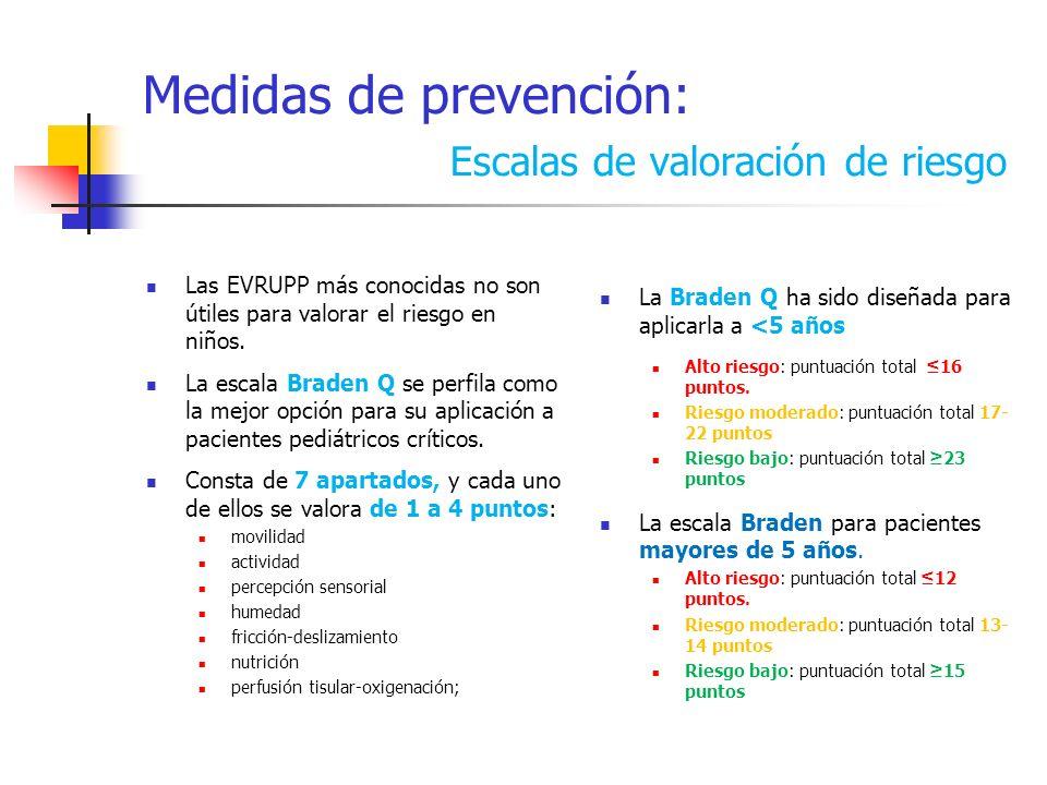 Medidas de prevención: Escalas de valoración de riesgo Las EVRUPP más conocidas no son útiles para valorar el riesgo en niños. La escala Braden Q se p