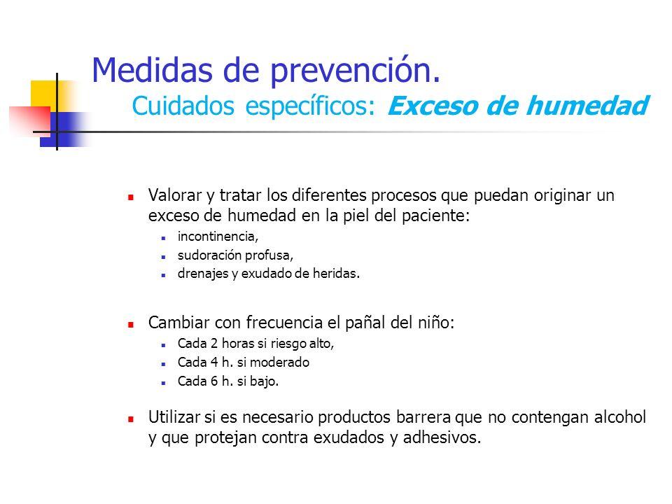 Medidas de prevención. Cuidados específicos: Exceso de humedad Valorar y tratar los diferentes procesos que puedan originar un exceso de humedad en la