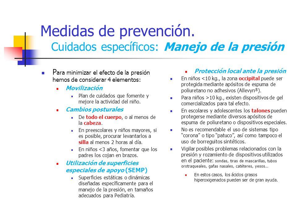 Medidas de prevención. Cuidados específicos: Manejo de la presión P ara minimizar el efecto de la presión hemos de considerar 4 elementos: Movilizació