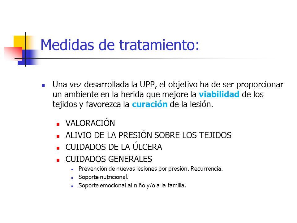 Medidas de tratamiento: Una vez desarrollada la UPP, el objetivo ha de ser proporcionar un ambiente en la herida que mejore la viabilidad de los tejid