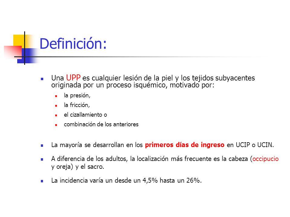 Definición: Una UPP es cualquier lesión de la piel y los tejidos subyacentes originada por un proceso isquémico, motivado por: la presión, la fricción