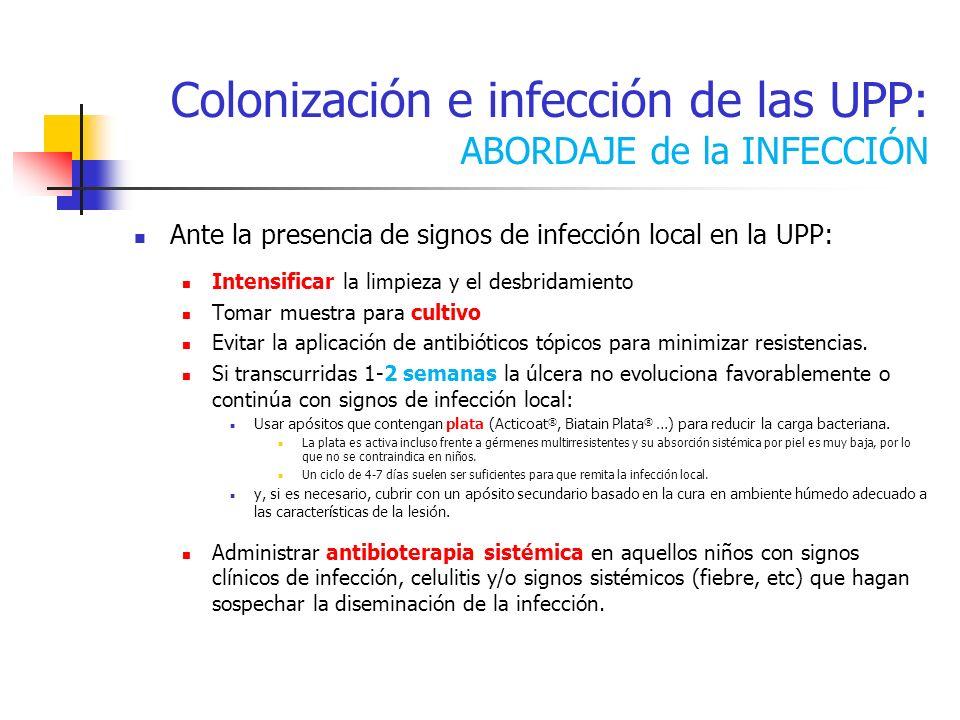 Colonización e infección de las UPP: ABORDAJE de la INFECCIÓN Ante la presencia de signos de infección local en la UPP: Intensificar la limpieza y el