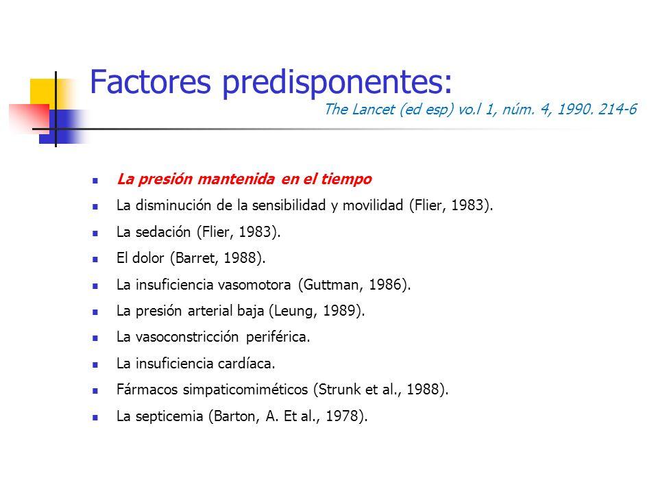 Factores predisponentes: The Lancet (ed esp) vo.l 1, núm. 4, 1990. 214-6 La presión mantenida en el tiempo La disminución de la sensibilidad y movilid