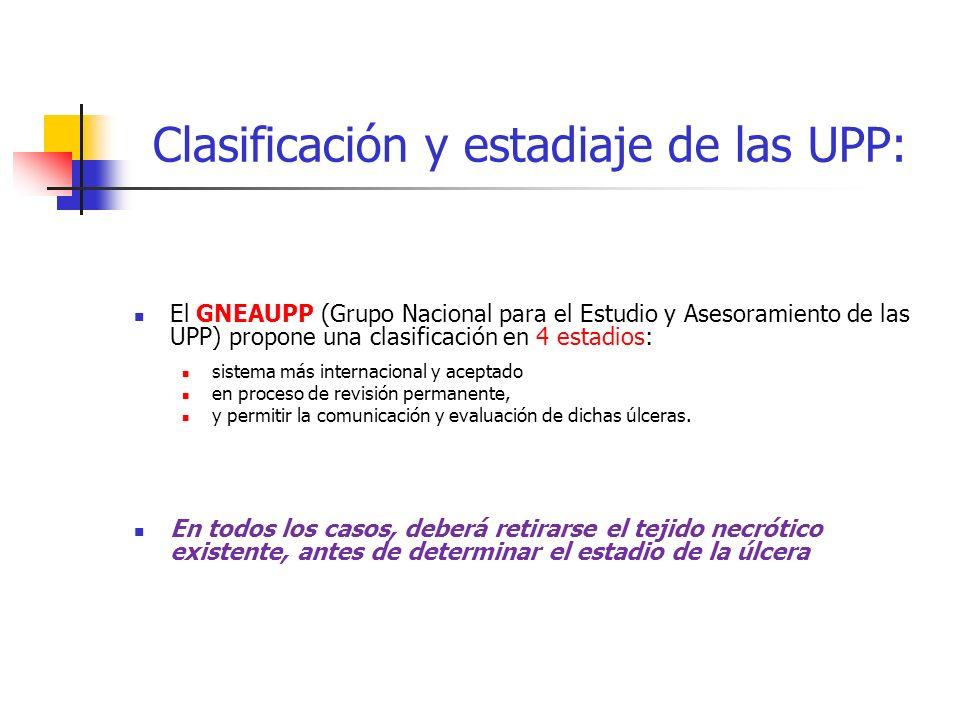 Clasificación y estadiaje de las UPP: El GNEAUPP (Grupo Nacional para el Estudio y Asesoramiento de las UPP) propone una clasificación en 4 estadios: