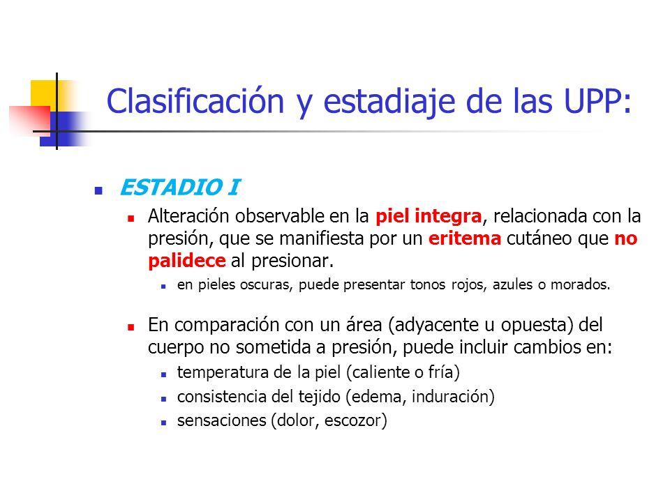 Clasificación y estadiaje de las UPP: ESTADIO I Alteración observable en la piel integra, relacionada con la presión, que se manifiesta por un eritema