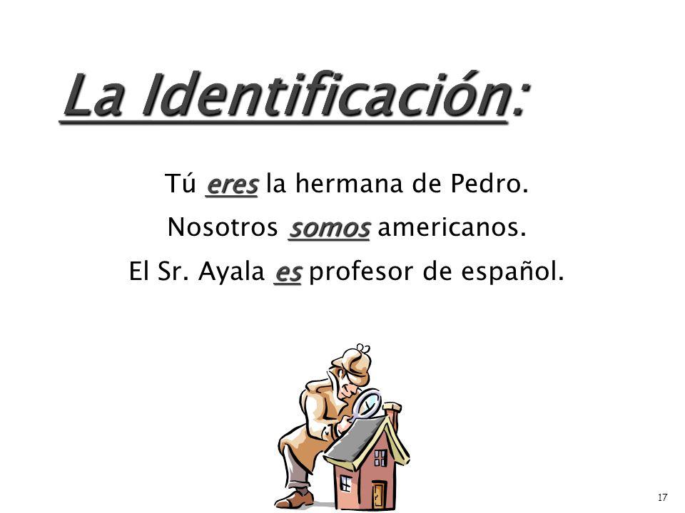 es Juan es de España. es El libro es de Borders. son Mis primos son de Buenos Aires. 16
