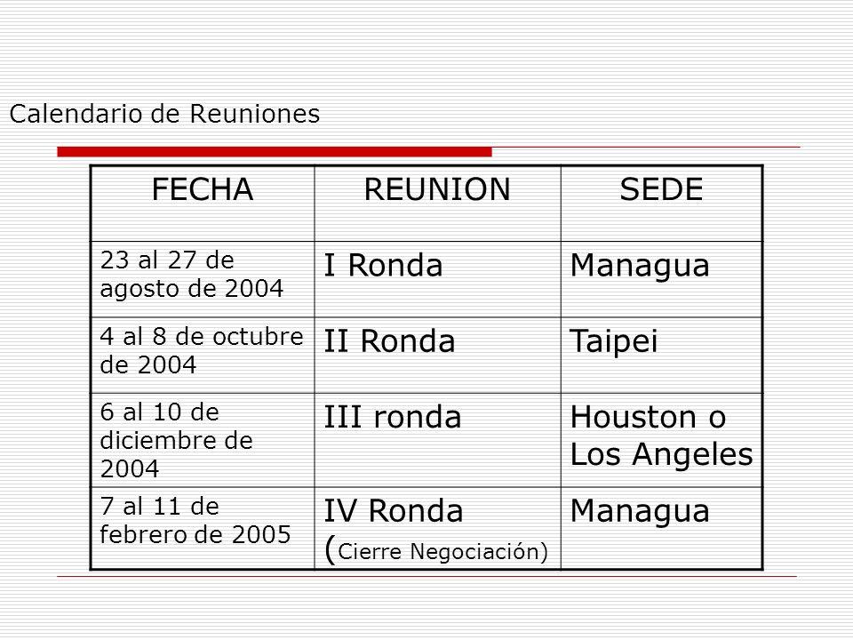 Calendario de Reuniones PROGRAMA DE REUNIONES FECHA REUNIONSEDE 2 al 6 de agosto 2004I Ronda (Lanzamiento de las negociaciones) Taipei, Taiwán 30 de a