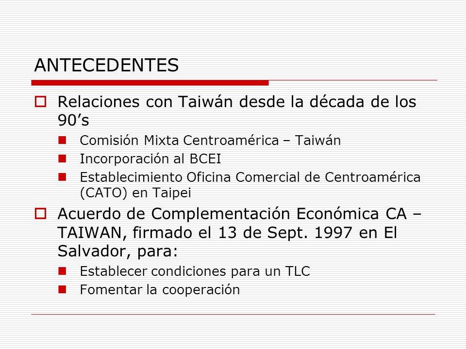 ANTECEDENTES Relaciones con Taiwán desde la década de los 90s Comisión Mixta Centroamérica – Taiwán Incorporación al BCEI Establecimiento Oficina Come