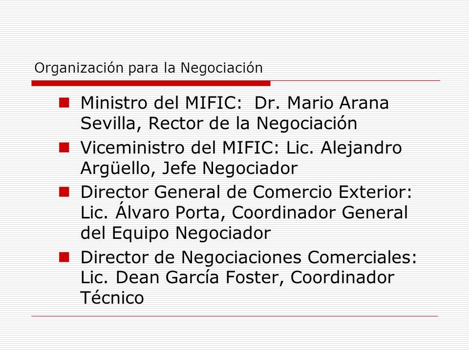 Organización para la Negociación Ministro del MIFIC: Dr. Mario Arana Sevilla, Rector de la Negociación Viceministro del MIFIC: Lic. Alejandro Argüello