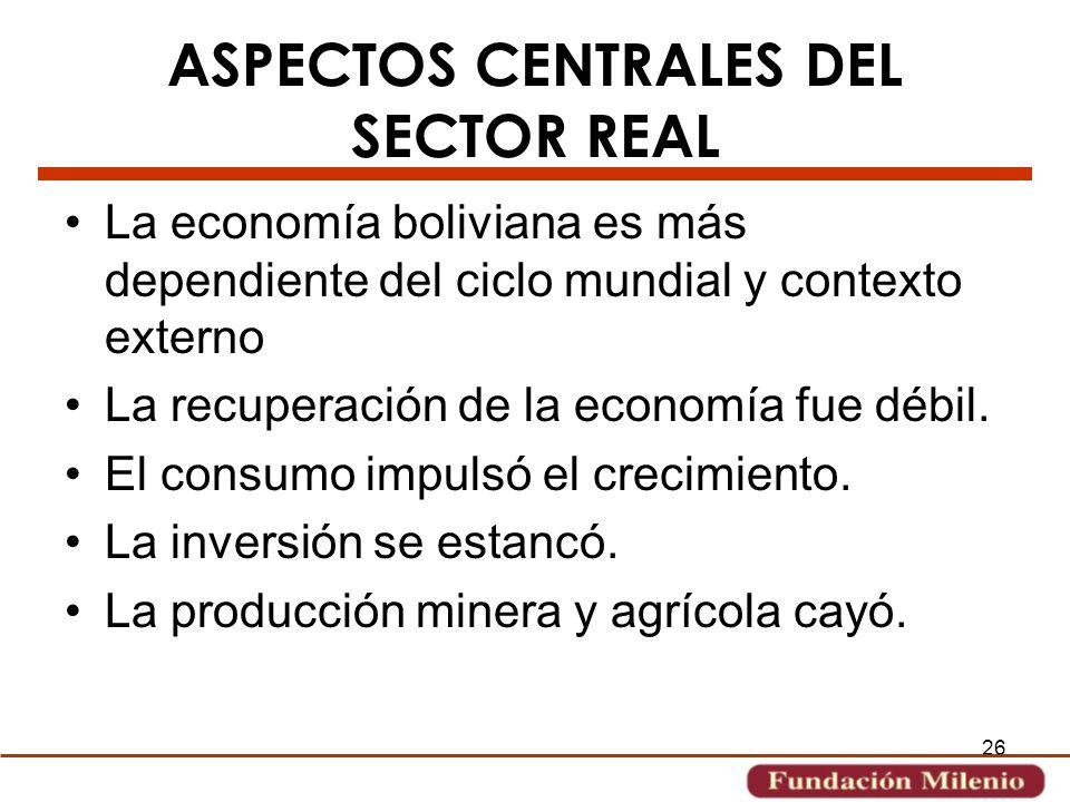 26 ASPECTOS CENTRALES DEL SECTOR REAL La economía boliviana es más dependiente del ciclo mundial y contexto externo La recuperación de la economía fue