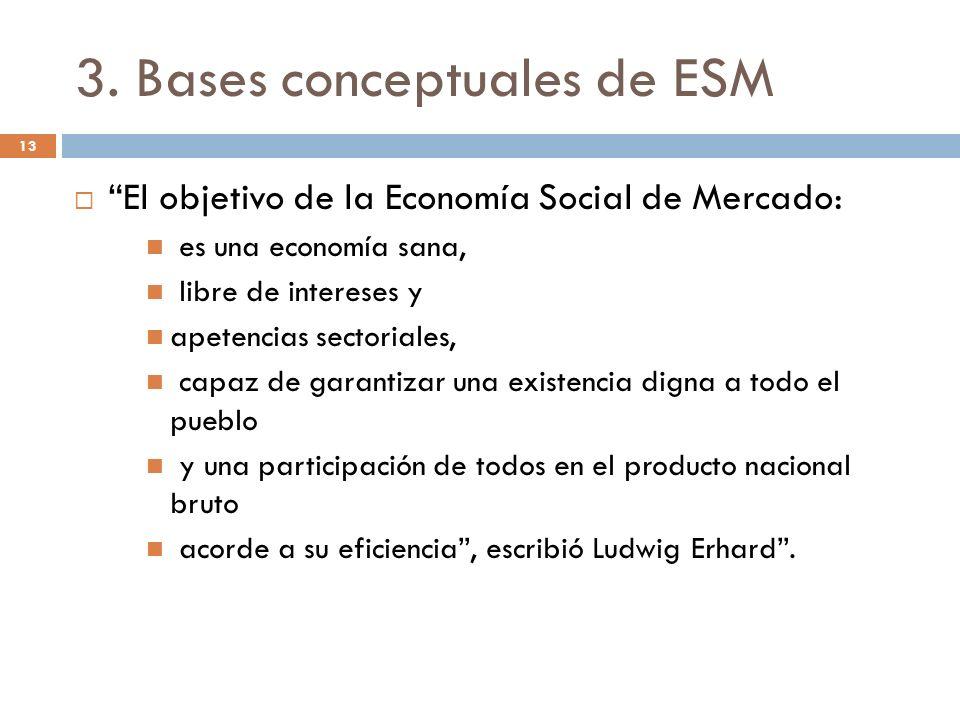 3. Bases conceptuales de ESM El objetivo de la Economía Social de Mercado: es una economía sana, libre de intereses y apetencias sectoriales, capaz de
