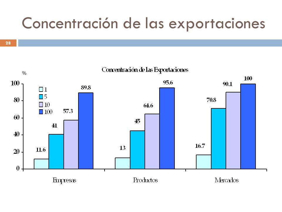 Concentración de las exportaciones 28