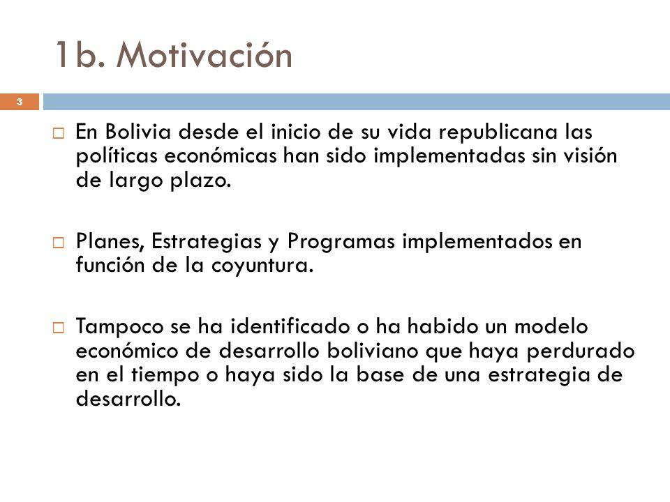 1b. Motivación 3 En Bolivia desde el inicio de su vida republicana las políticas económicas han sido implementadas sin visión de largo plazo. Planes,