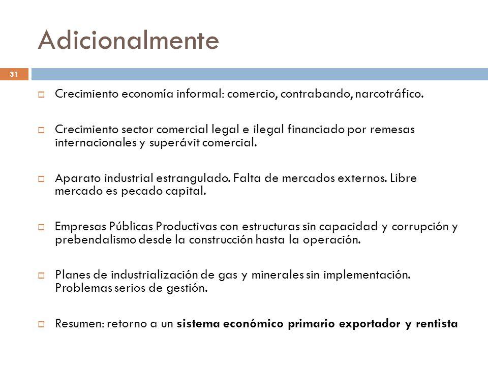 Adicionalmente 31 Crecimiento economía informal: comercio, contrabando, narcotráfico. Crecimiento sector comercial legal e ilegal financiado por remes