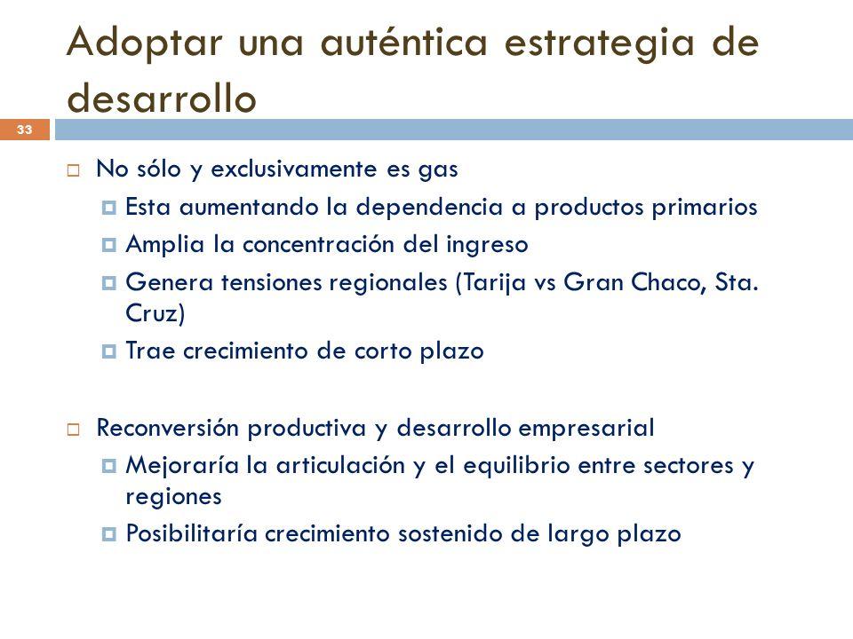 33 Adoptar una auténtica estrategia de desarrollo No sólo y exclusivamente es gas Esta aumentando la dependencia a productos primarios Amplia la conce