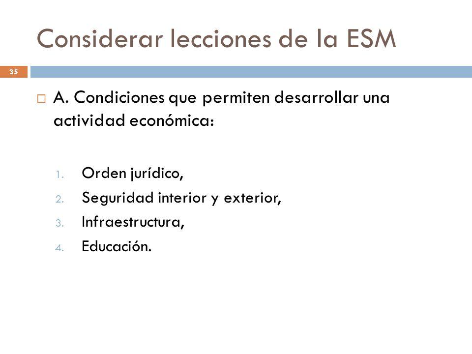 Considerar lecciones de la ESM 35 A. Condiciones que permiten desarrollar una actividad económica: 1. Orden jurídico, 2. Seguridad interior y exterior