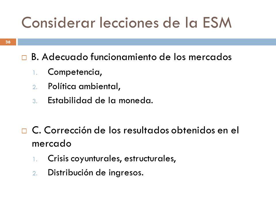Considerar lecciones de la ESM 36 B. Adecuado funcionamiento de los mercados 1. Competencia, 2. Política ambiental, 3. Estabilidad de la moneda. C. Co