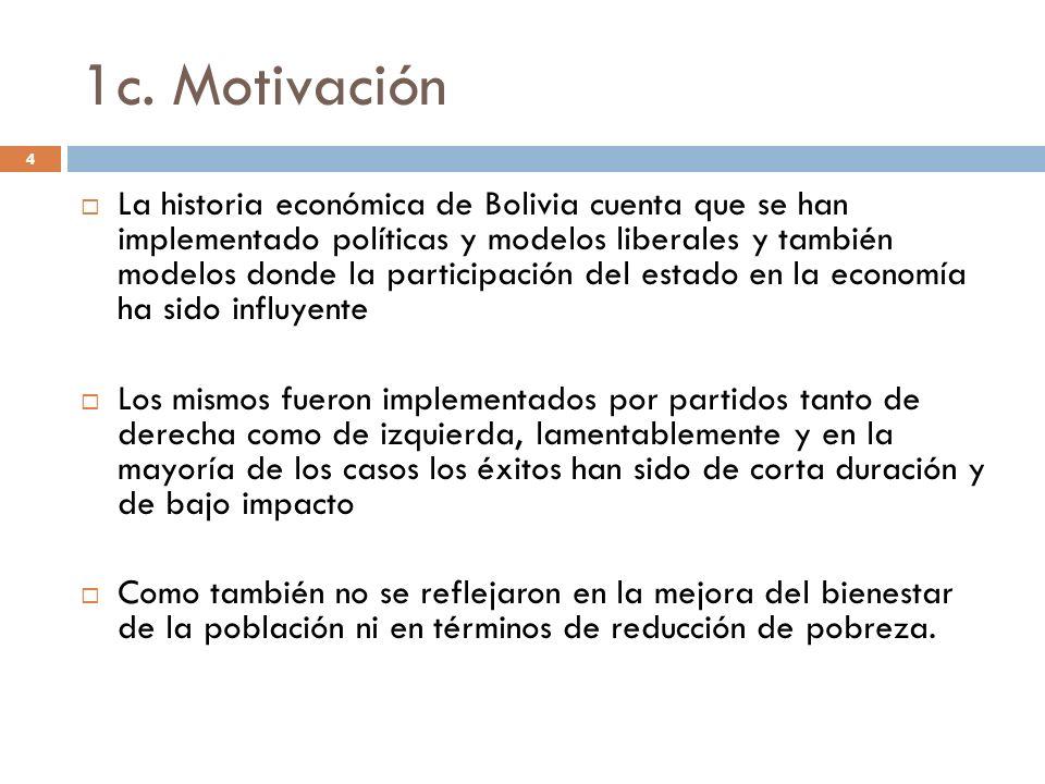 1c. Motivación 4 La historia económica de Bolivia cuenta que se han implementado políticas y modelos liberales y también modelos donde la participació
