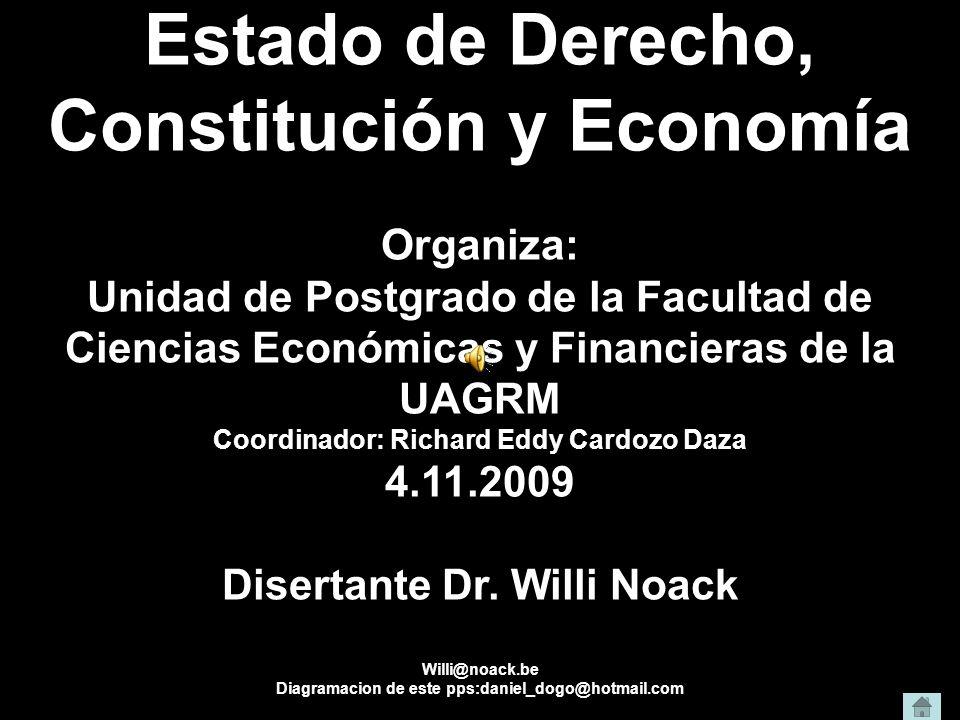 Estado de Derecho, Constitución y Economía Organiza: Unidad de Postgrado de la Facultad de Ciencias Económicas y Financieras de la UAGRM Coordinador: