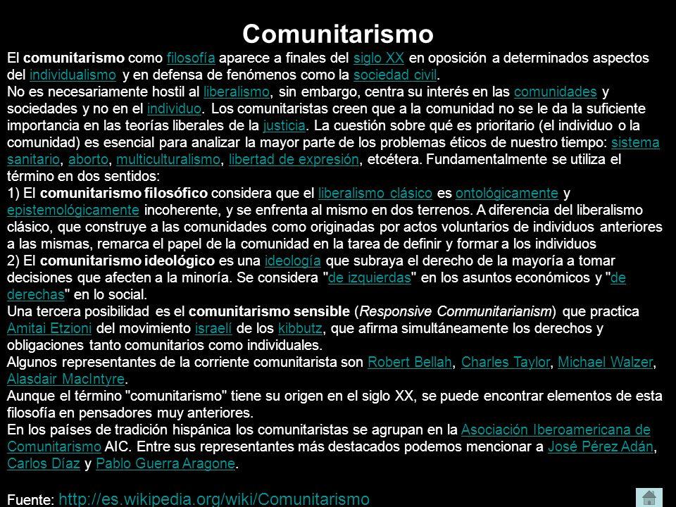 Comunitarismo El comunitarismo como filosofía aparece a finales del siglo XX en oposición a determinados aspectos del individualismo y en defensa de f