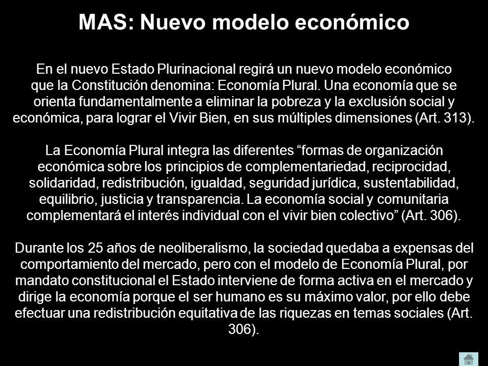 MAS: Nuevo modelo económico En el nuevo Estado Plurinacional regirá un nuevo modelo económico que la Constitución denomina: Economía Plural. Una econo