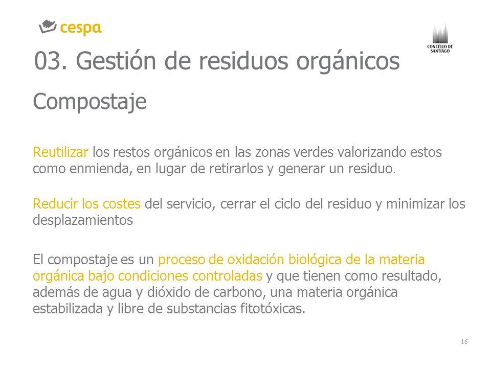 16 03. Gestión de residuos orgánicos Compostaje Reutilizar los restos orgánicos en las zonas verdes valorizando estos como enmienda, en lugar de retir