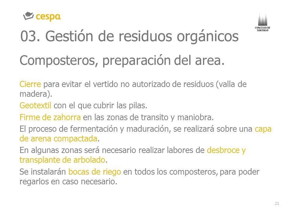 21 03. Gestión de residuos orgánicos Composteros, preparación del area. Cierre para evitar el vertido no autorizado de residuos (valla de madera). Geo