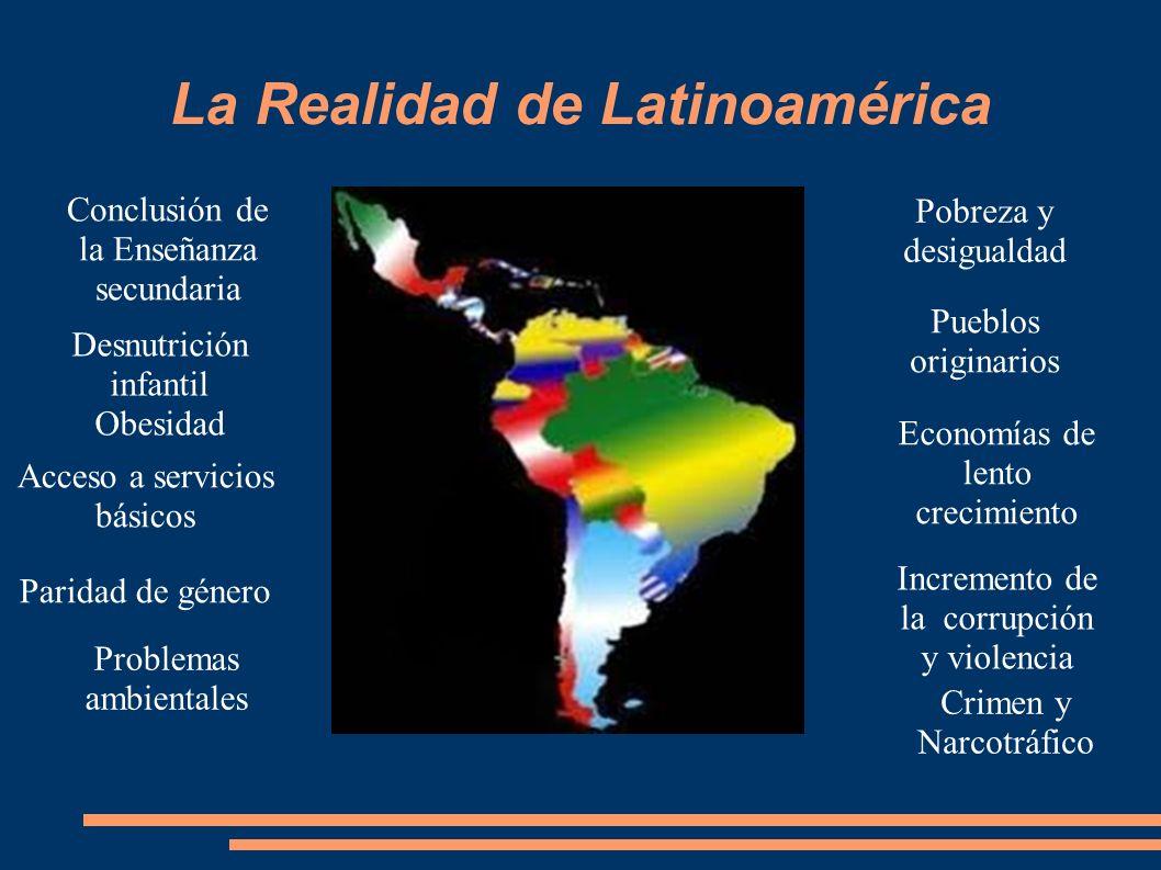 La Realidad de Latinoamérica Pobreza y desigualdad Pueblos originarios Economías de lento crecimiento Incremento de la corrupción y violencia Crimen y