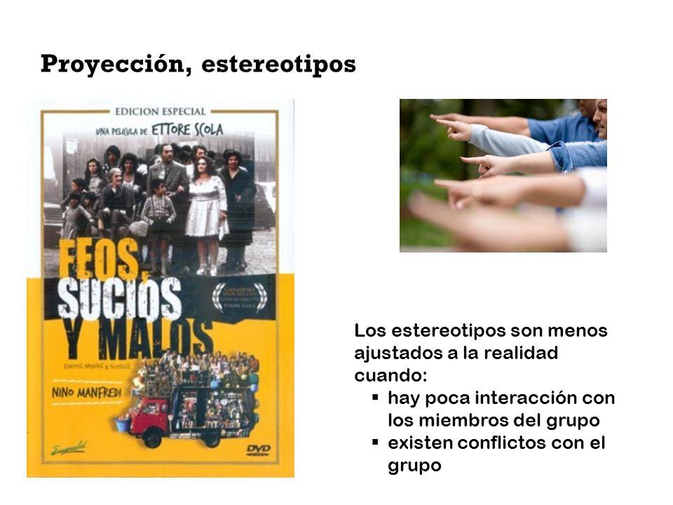 Proyección, estereotipos Los estereotipos son menos ajustados a la realidad cuando: hay poca interacción con los miembros del grupo existen conflictos