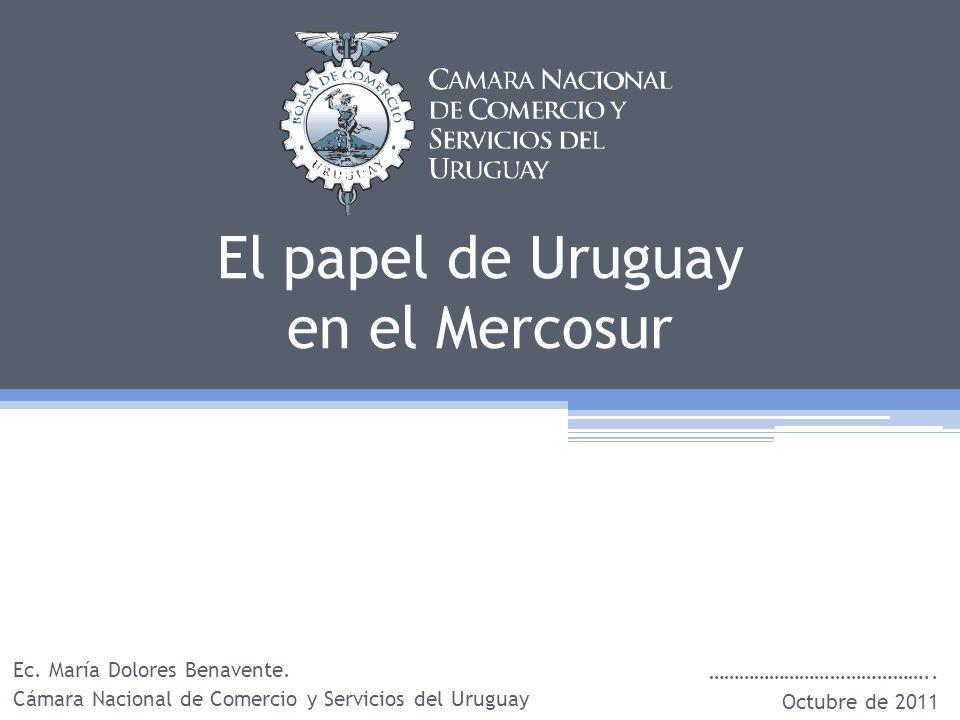 El papel de Uruguay en el Mercosur Ec. María Dolores Benavente.