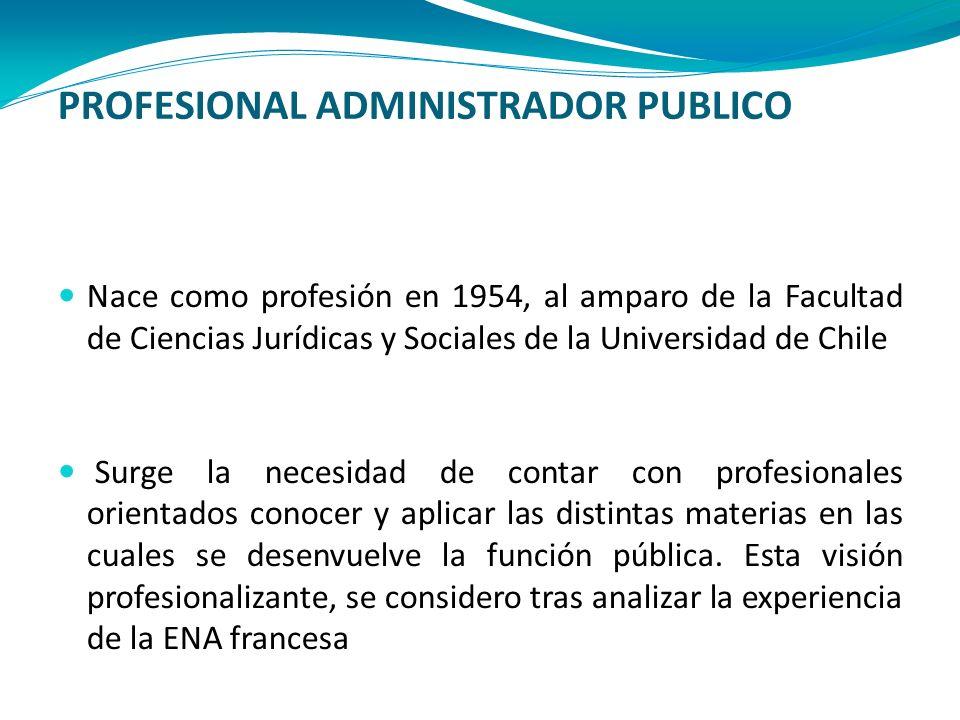 PROFESIONAL ADMINISTRADOR PUBLICO Nace como profesión en 1954, al amparo de la Facultad de Ciencias Jurídicas y Sociales de la Universidad de Chile Su
