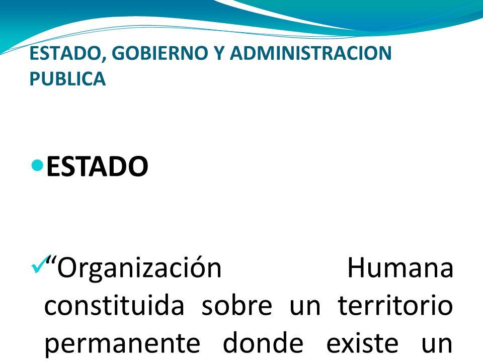 ESTADO, GOBIERNO Y ADMINISTRACION PUBLICA ESTADO Organización Humana constituida sobre un territorio permanente donde existe un poder soberano, para l
