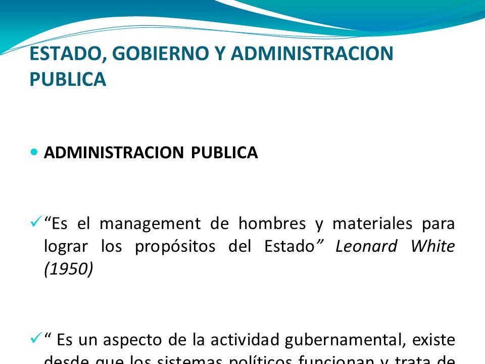 ESTADO, GOBIERNO Y ADMINISTRACION PUBLICA ADMINISTRACION PUBLICA Es el management de hombres y materiales para lograr los propósitos del Estado Leonar