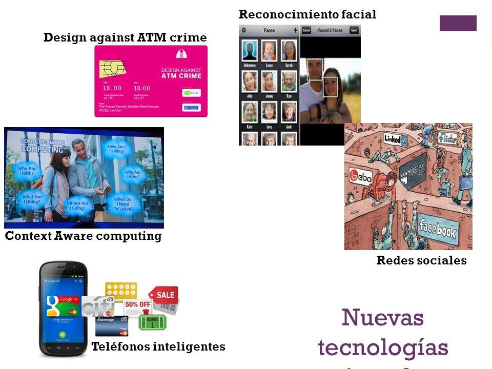 Nuevas tecnologías - ejemplos - Context Aware computing Redes sociales Reconocimiento facial Design against ATM crime Teléfonos inteligentes