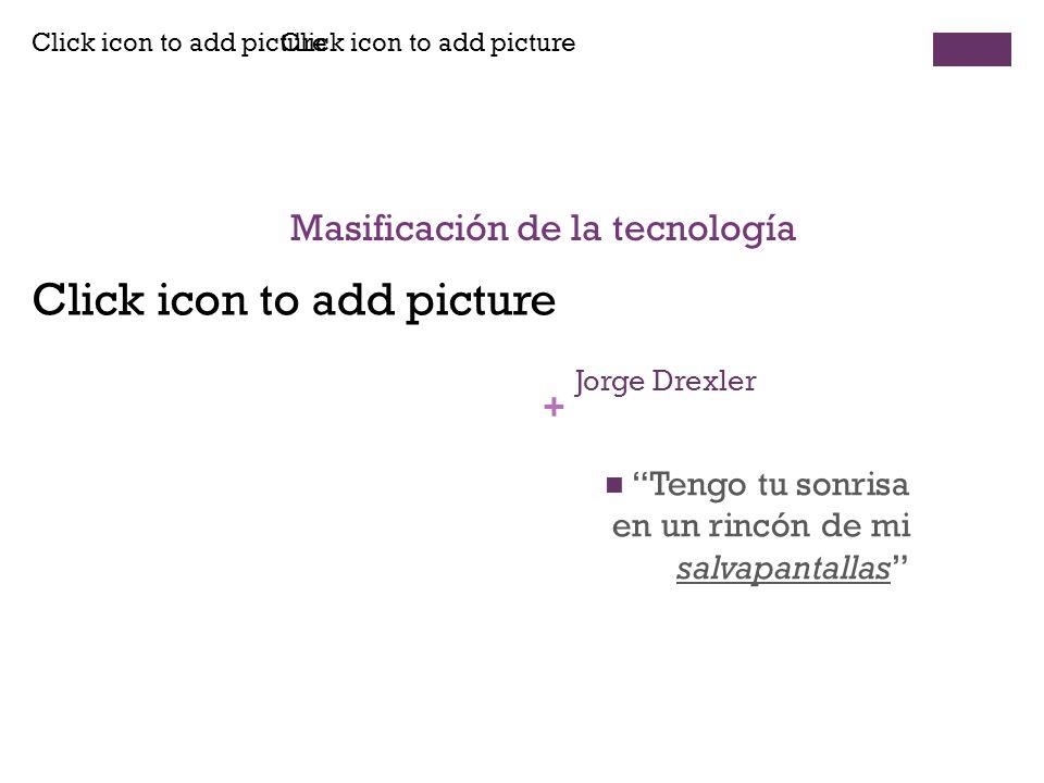 Click icon to add picture + Jorge Drexler Tengo tu sonrisa en un rincón de mi salvapantallas Masificación de la tecnología