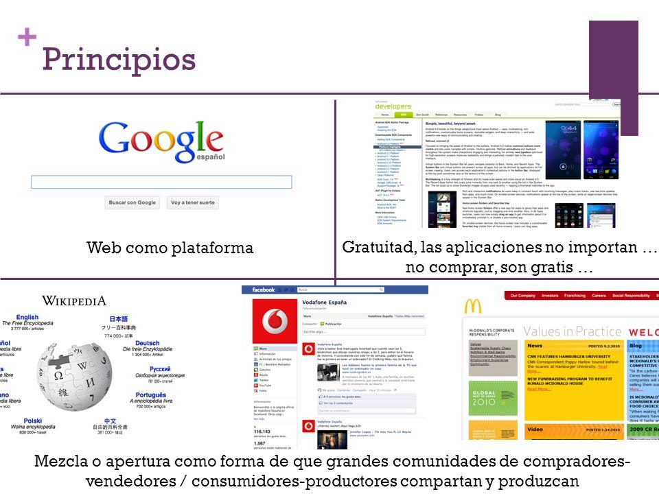 + Web como plataforma Mezcla o apertura como forma de que grandes comunidades de compradores- vendedores / consumidores-productores compartan y produzcan Gratuitad, las aplicaciones no importan … no comprar, son gratis … Principios