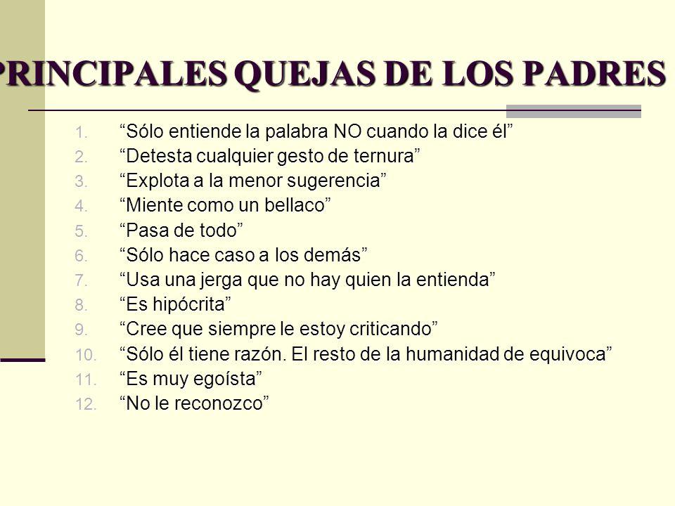 PRINCIPALES QUEJAS DE LOS PADRES 1. Sólo entiende la palabra NO cuando la dice él 2. Detesta cualquier gesto de ternura 3. Explota a la menor sugerenc