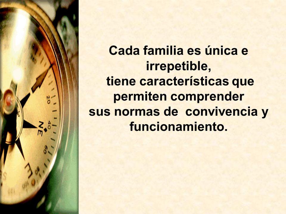 Cada familia es única e irrepetible, tiene características que permiten comprender sus normas de convivencia y funcionamiento.