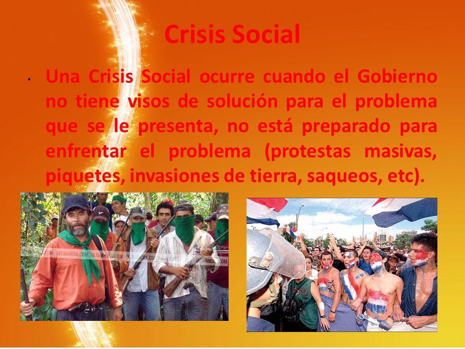 Crisis Social Una Crisis Social ocurre cuando el Gobierno no tiene visos de solución para el problema que se le presenta, no está preparado para enfre